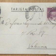 Sellos: TARJETA POSTAL CIRCULADA MADRID - VALENCIA. Lote 81280784