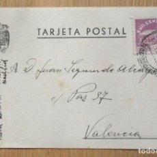 Sellos: TARJETA POSTAL CIRCULADA MADRID - VALENCIA. Lote 81281304
