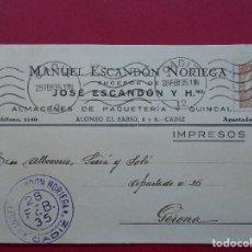 Sellos: TARJETA COMERCIAL - ALMACENES MANUEL ESCANDON NORIEGA , CADIZ , CIRCULADA 1935 . R-5704. Lote 85139436