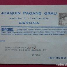 Timbres: TARJETA COMERCIAL - FABRICANTE FOSFATOS , JOAQUIN PAGANS GRAU - GERONA - AÑO 1952... R-5708. Lote 85142776