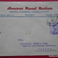 Sellos: TARJETA POSTAL COMERCIAL - ALMACENES MANUEL MARTINEZ - MERCERIA, PAQUETERIA - BILBAO- 1945... R-5711. Lote 85156292
