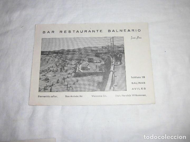 TAJETA POSTAL BAR RESTAURANTE BALNEARIO JUAN PERIS SALINAS AVILES ASTURIAS (Sellos - España - Tarjetas)