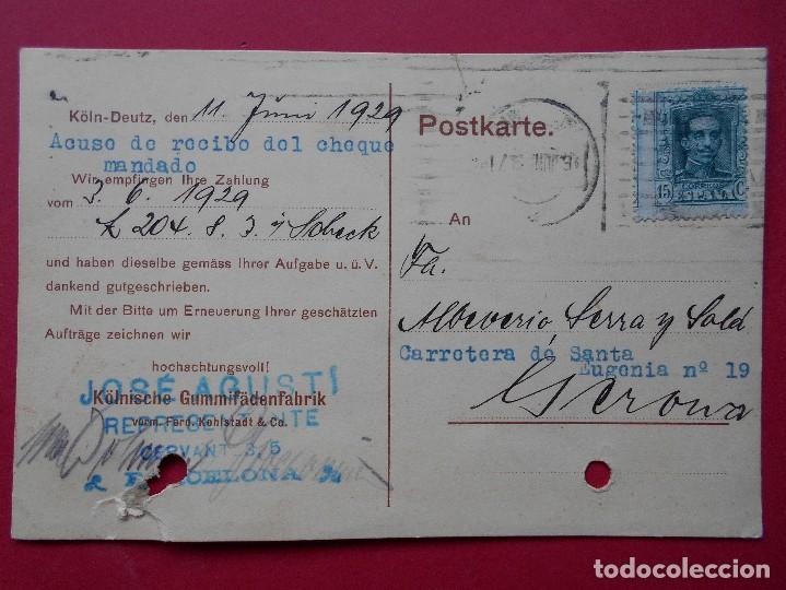 TARJETA POSTAL COMERCIAL ALEMANA- SELLO REPRESENTANTE EN BARCELONA- ENVIADA A GERONA -1929.. R-5728 (Sellos - España - Tarjetas)