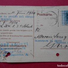 Sellos: TARJETA POSTAL COMERCIAL ALEMANA- SELLO REPRESENTANTE EN BARCELONA- ENVIADA A GERONA -1929.. R-5728. Lote 85393688