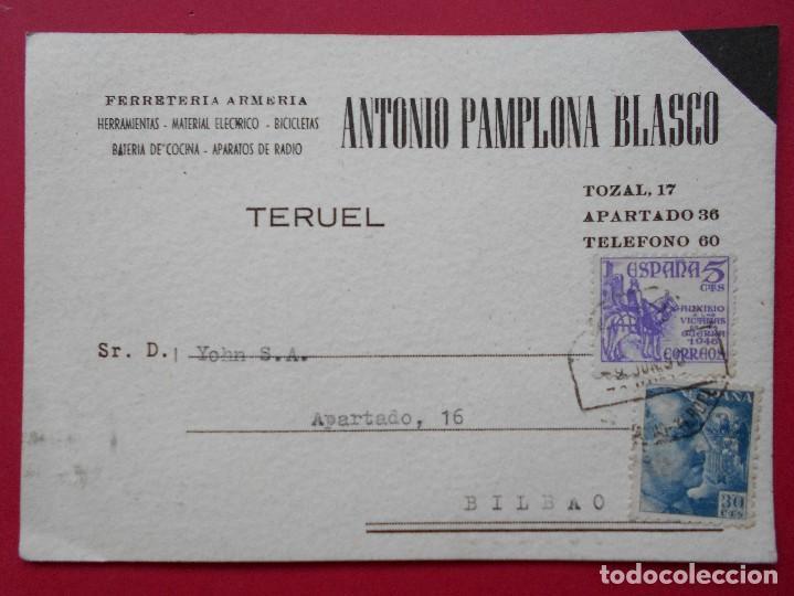 TARJETA POSTAL COMERCIAL ANTONIO PAMPLONA BLASCO - TERUEL - CIRCULADA 1950 .. R-5733 (Sellos - España - Tarjetas)