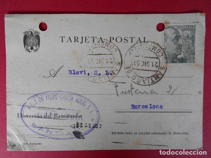 TARJETA POSTAL COMERCIAL, HIJOS DE FELIPE GARCIA MIRAS -SANTIAGO DE COMPOSTELA -1951.. R-5735 (Sellos - España - Tarjetas)