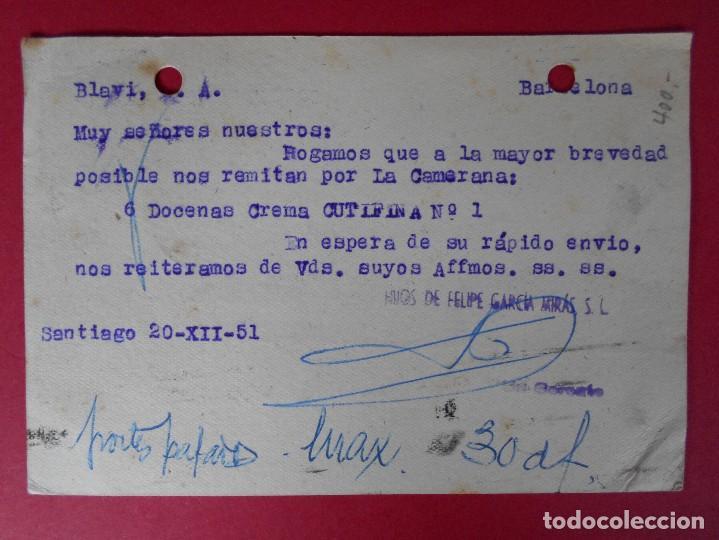 Sellos: TARJETA POSTAL COMERCIAL, HIJOS DE FELIPE GARCIA MIRAS -SANTIAGO DE COMPOSTELA -1951.. R-5735 - Foto 2 - 85401260