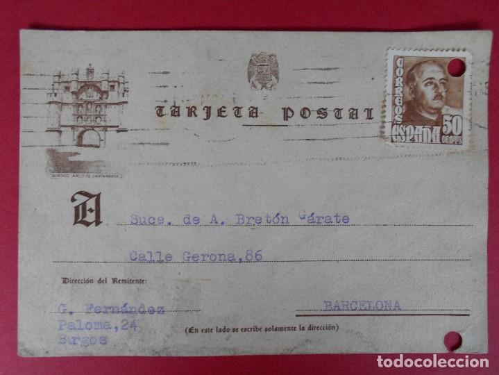 TARJETA POSTAL COMERCIAL , SUCESORES DE A. BRETON GARATE - BURGOS ,1955 ... R-5736 (Sellos - España - Tarjetas)