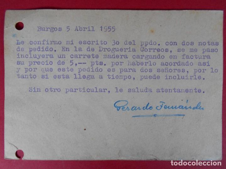 Sellos: TARJETA POSTAL COMERCIAL , SUCESORES DE A. BRETON GARATE - BURGOS ,1955 ... R-5736 - Foto 2 - 85401696