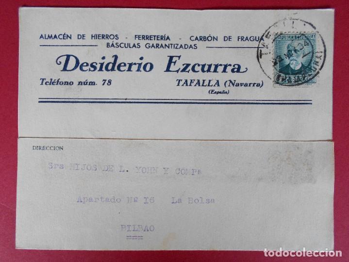 TARJETA POSTAL COMERCIAL, DESIDERIO EZCURRA -TAFALLA (NAVARRA) -1934... R-5739 (Sellos - España - Tarjetas)