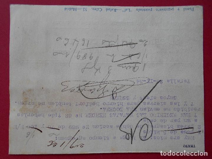 Sellos: TARJETA POSTAL COMERCIAL, DESIDERIO EZCURRA -TAFALLA (NAVARRA) -1934... R-5739 - Foto 2 - 85402808
