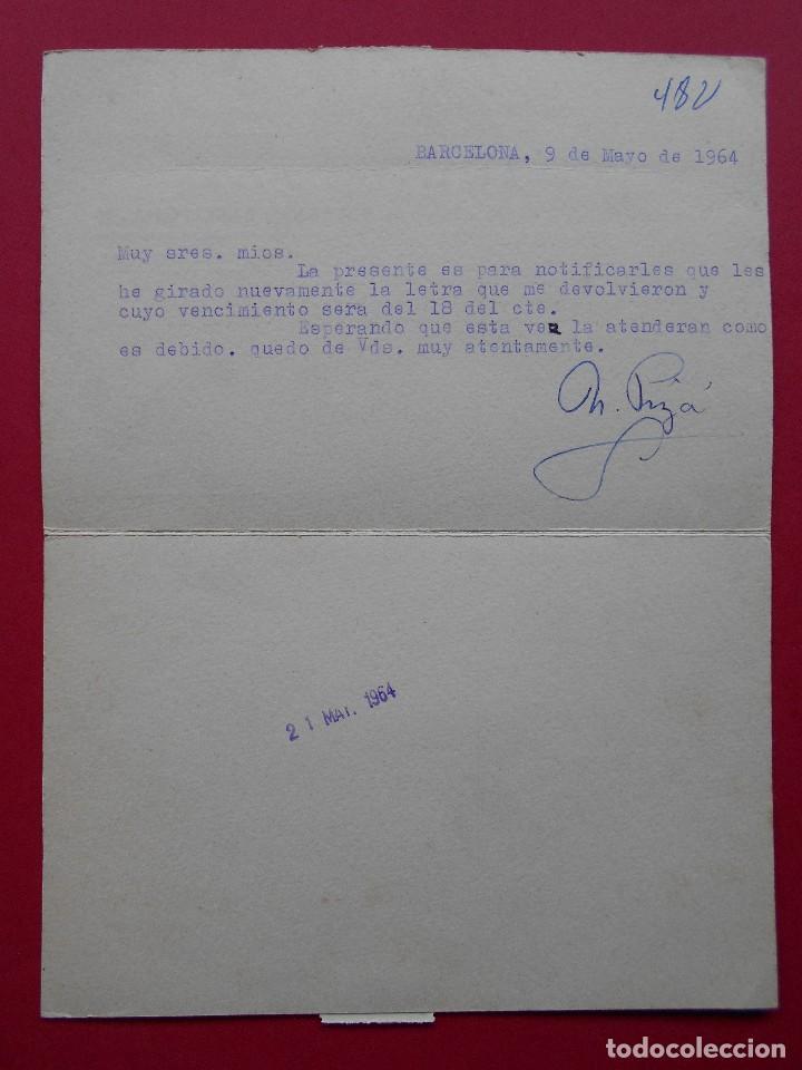 Sellos: TARJETA COMERCIAL, CUCHILLERIA PIZÁ ( BARCELONA ) - 1964 - MATASELLO RODILLO , A BILBAO .R-5744 - Foto 2 - 85485412