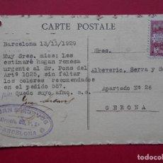 Sellos: JUAN SERLAVOS -1929 - BARCELONA - REMESA ESCRITA EN POSTAL DE CALAIS (FRANCIA).. R-5749. Lote 85490180