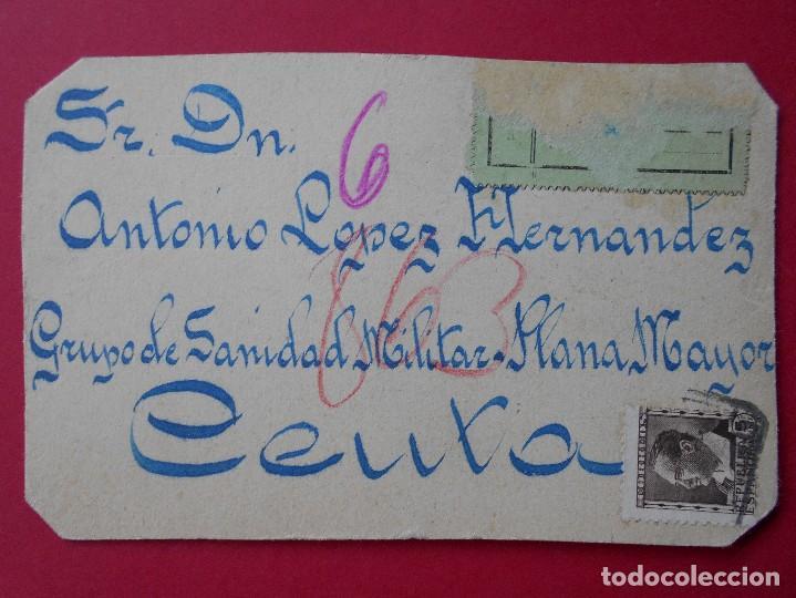 TARJETA HECHA A MANO, ANTONIO LOPEZ HERNANDEZ, GRUPO SANIDAD MILITAR- PLANA MAYOR -CEUTA.. R-5750 (Sellos - España - Tarjetas)