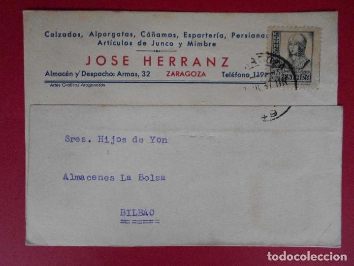 TARJETA COMERCIAL -1937 - DE CALZADOS JOSE HERRANZ - ZARAGOZA A BILBAO... R-5758 (Sellos - España - Tarjetas)