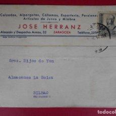 Sellos: TARJETA COMERCIAL -1937 - DE CALZADOS JOSE HERRANZ - ZARAGOZA A BILBAO... R-5758. Lote 85599536