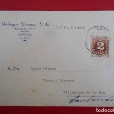 Sellos: TARJETA COMERCIAL DE BODEGAS GIRONA, CRIPTANA (CIUDAD REAL) A VILLANUEVA DE LA NIA .. R-5770. Lote 85618540