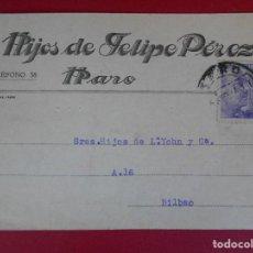 Sellos: TARJETA COMERCIAL HIJOS DE FELIPE PEREZ- HARO (LA RIOJA) 1941-MATASELLO RODILLO, FRANCO... R-5772. Lote 85696172