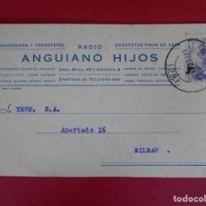 Sellos: TARJETA COMERCIAL ANGUIANO HIJOS -1944 -DE LOGROÑO A BILBAO- MATASELLO RODILLO, FRANCO.. R-5773. Lote 85696740