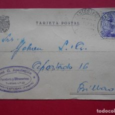 Sellos: TARJETA POSTAL FERRETERIA JOSE G. APEZTEGUIA, SANTESTEBAN (NAVARRA) 1944, A BILBAO.. R-5784. Lote 85724892