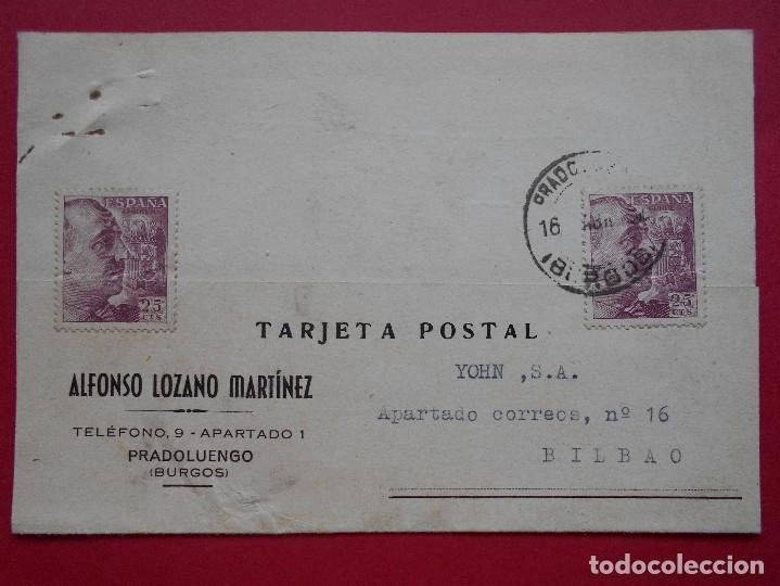 TARJETA POSTAL COMERCIAL - ALFONSO LOZANO MARTINEZ, PRADOLUENGO (BURGOS) 1957, A BILBAO.. R-5786 (Sellos - España - Tarjetas)
