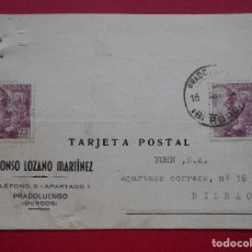 Sellos: TARJETA POSTAL COMERCIAL - ALFONSO LOZANO MARTINEZ, PRADOLUENGO (BURGOS) 1957, A BILBAO.. R-5786. Lote 85725852