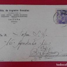 Sellos: TARJETA COMERCIAL FERRETERIA VDA. DE ARGIMIRO GONZALEZ, 1944, SALDAÑA (PALENCIA) A BILBAO .. R-5859. Lote 86095076