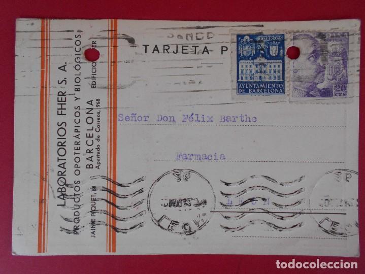 TARJETA POSTAL COMERCIAL LABORATORIOS FHER, AÑO 1942 BARCELONA, A LEON - MATASELLO RODILLO.. R-5864 (Sellos - España - Tarjetas)