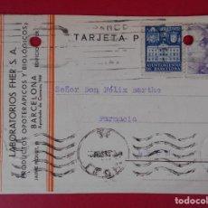 Sellos: TARJETA POSTAL COMERCIAL LABORATORIOS FHER, AÑO 1942 BARCELONA, A LEON - MATASELLO RODILLO.. R-5864. Lote 86101400