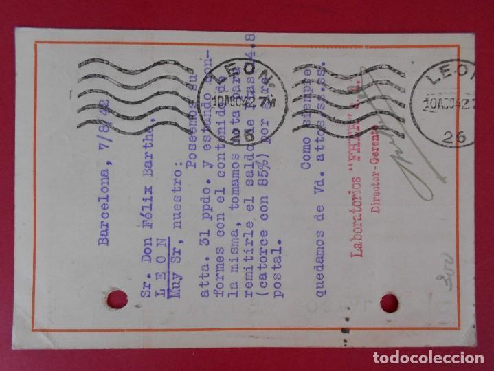 Sellos: TARJETA POSTAL COMERCIAL LABORATORIOS FHER, AÑO 1942 BARCELONA, A LEON - MATASELLO RODILLO.. R-5864 - Foto 2 - 86101400
