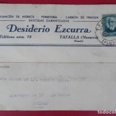 Sellos: TARJETA POSTAL COMERCIAL DESIDERIO EZCURRA, AÑO 1934 TAFALLA (NAVARRA) , A BILBAO. R-5865. Lote 86191260