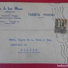 Sellos: TARJETA POSTAL COMERCIAL VDA. DE JOSE ALFONSO, 1937 ZARAGOZA, A BILBAO - MATASELLO RODILLO.. R-5870. Lote 86192804