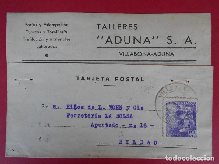 TARJETA COMERCIAL TALLERES ADUNA, AÑO 1944 VILLABONA-ADUNA (GUIPUZCOA) - MATASELLOS FRANCO .. R-5873 (Sellos - España - Tarjetas)