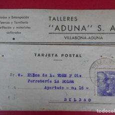 Sellos: TARJETA POSTAL COMERCIAL TALLERES ADUNA, AÑO 1944 VILLABONA-ADUNA (GUIPUZCOA) - A BILBAO.. R-5873. Lote 86194508
