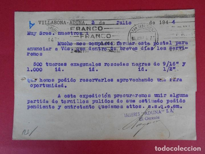 Sellos: TARJETA COMERCIAL TALLERES ADUNA, AÑO 1944 VILLABONA-ADUNA (GUIPUZCOA) - MATASELLOS FRANCO .. R-5873 - Foto 2 - 86194508