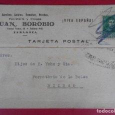 Sellos: TARJETA POSTAL COMERCIAL FERRETERIA JUAN BOROBIO, AÑO 1938 ZARAGOZA - A BILBAO... R-5876. Lote 86196164