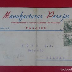 Sellos: TARJETA POSTAL COMERCIAL MANUFACTURAS PASAJES, AÑO 1950 PASAJES (GUIPUZCOA) - A BILBAO... R-5877. Lote 86197520