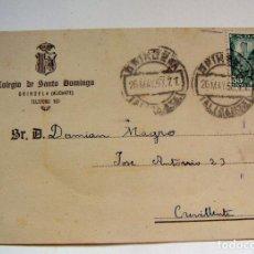 Sellos: TARJETA POSTAL COLEGIO DE SANTO DOMINGO ORIHUELA 1950. Lote 96256971