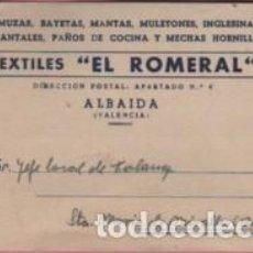 Sellos: TARJETA COMERCIAL TEXTILES EL ROMERAL DE ALBAIDA DE VALENCIA - TARIFA Nº 7 AÑOS 60 APROXMTE. Lote 97145267
