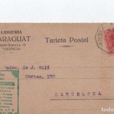 Sellos: TARJETA POSTAL - LIBRERIA MARAGUAT VALENCIA CIRCULADA A BARCELONA 1918 - C-48. Lote 98001435