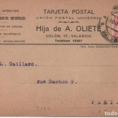 Sellos: TARJETA POSTAL - HIJA DE A. OLIETE VALENCIA CIRCULADA A PARIS 1932 - C-48. Lote 98001903