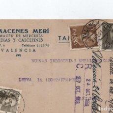 Sellos: TARJETA POSTAL - ALMACENES MERI VALENCIA CIRCULADA A LEYVA LA RIOJA 1959 -- C-48. Lote 98002527