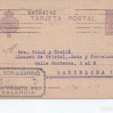 Sellos: TARJETA POSTAL - V. SORIA SARRIO VALENCIA CIRCULADA A BARCELONA 1927 -- C-48. Lote 98002975