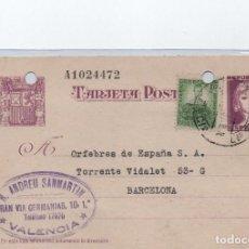 Sellos: TARJETA POSTAL - R. ANDREU SANMARTIN VALENCIA CIRCULADA A BARCELONA 1937 -- C-48. Lote 98003911