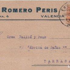 Sellos: TARJETA POSTAL - F. ROMERO PERIS VALENCIA CIRCULADA A TARRASA 1924 -- C-48. Lote 98004483