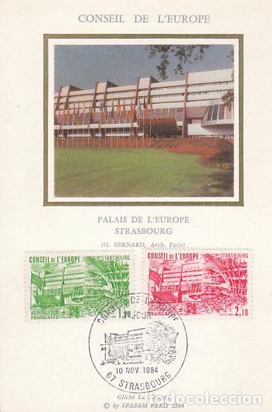 FRANCIA, CONSEJO DE EUROPA IVERT 82/3, PALACIO DE EUROPA EN ESTRASBURGO TARJETA MAXIMA DE 10-11-1984 (Sellos - Extranjero - Tarjetas Máximas)