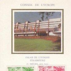 Sellos: FRANCIA, CONSEJO DE EUROPA IVERT 82/3, PALACIO DE EUROPA EN ESTRASBURGO TARJETA MAXIMA DE 10-11-1984. Lote 99536727