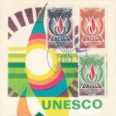 Sellos: FRANCIA, OFICIAL IVERT 43/5, DERECHOS DEL HOMBRE PARA USO DE LA UNESCO, TARJETA MAXIMA DE 15-8-1975. Lote 100058887