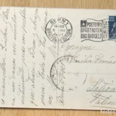 Sellos: TARJETA POSTAL CIRCULADA DE BERNA A JATIVA - 1921. Lote 100489375