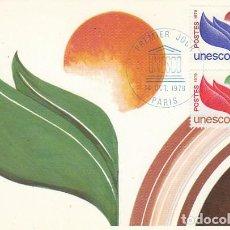 Sellos: FRANCIA SERVICIO UNESCO IVERT 56/7, TARJETA MÁXIMA DE 14-10-1978. Lote 100517487